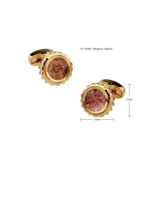 ThreeLink Brass Amber Flower Vintage Cuff Link 2