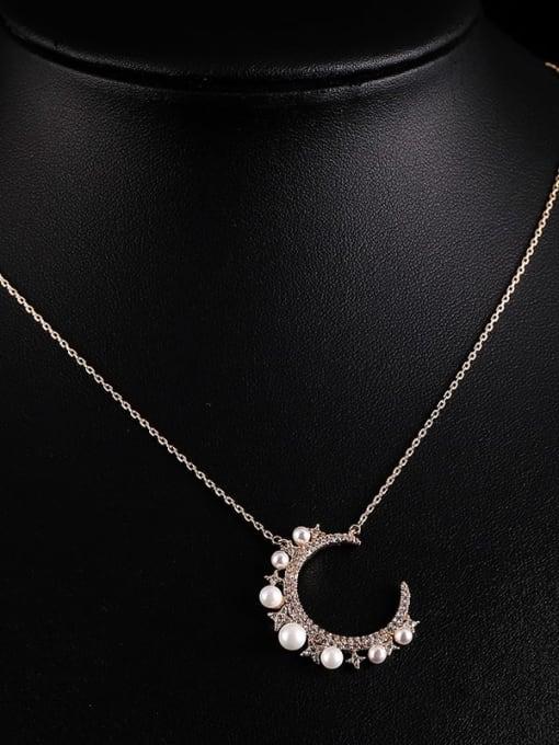 YILLIN Brass Imitation Pearl Moon Minimalist Necklace 3