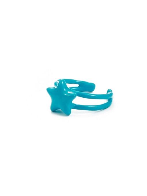 Blue Star Zinc Alloy Enamel Geometric Minimalist Band Ring