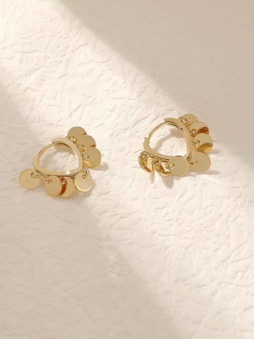 HYACINTH Brass Hollow Heart Vintage Huggie Trend Korean Fashion Earring 0