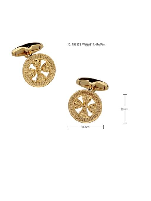 ThreeLink Brass Hollow Clover Vintage Cuff Link 2