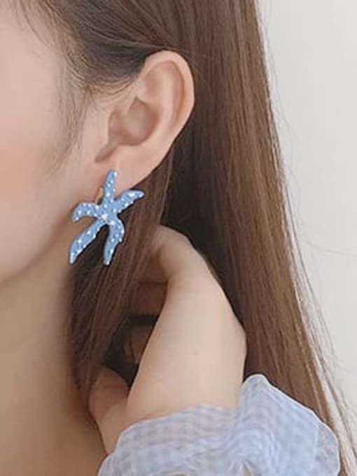Five Color Alloy Enamel Star Cute Stud Earring 1