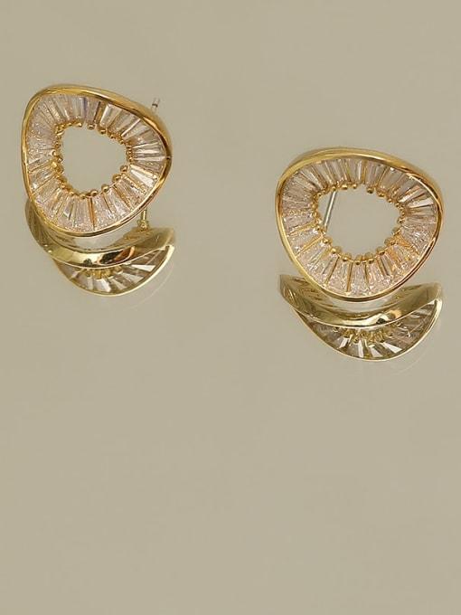 HYACINTH Copper Cubic Zirconia Geometric Minimalist Stud Earring 2