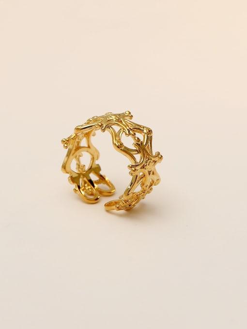 HYACINTH Brass Hollow  Flower Minimalist Band Ring 4
