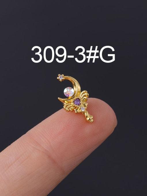 3 Gold Single Brass Cubic Zirconia Geometric Hip Hop Chandelier Earring
