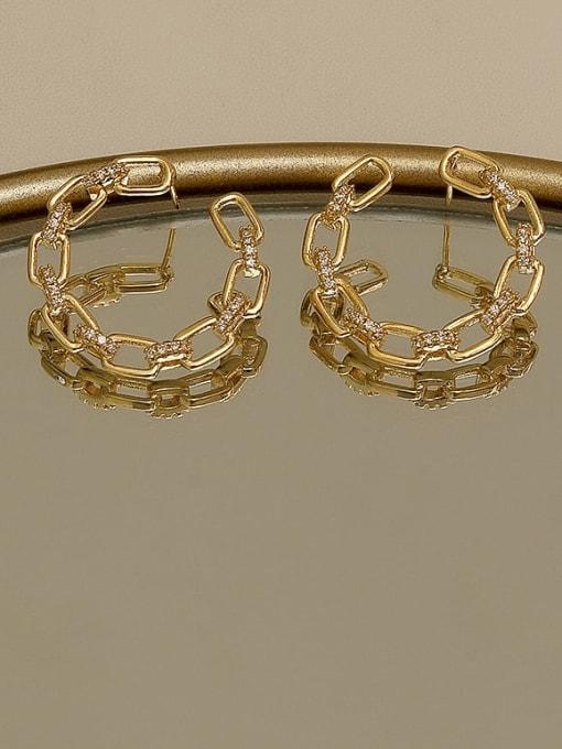 HYACINTH Copper Cubic Zirconia Geometric Minimalist Stud Earring 3