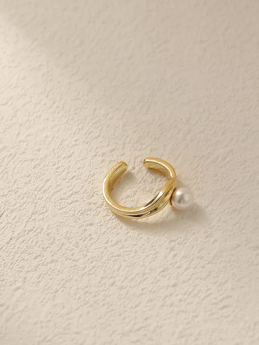 HYACINTH Brass Cubic Zirconia Asymmetry Flower Vintage Clip Earring 2