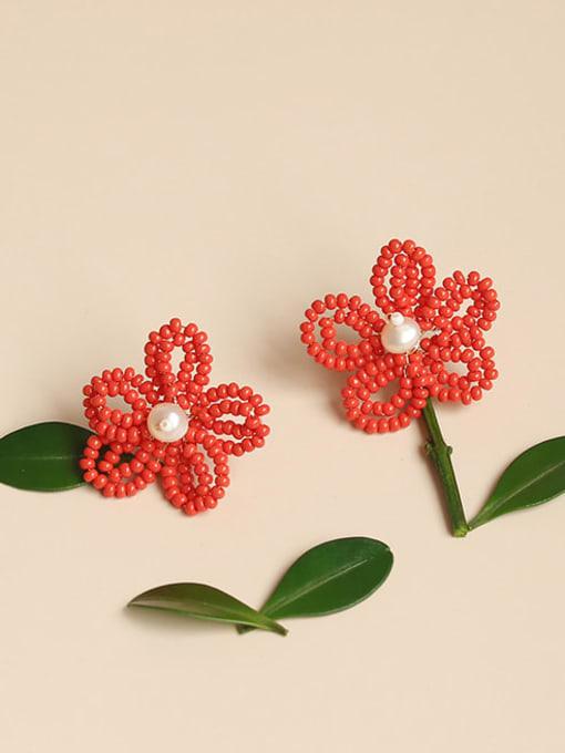 Five Color Alloy Bead Enamel Flower Bohemia Stud Earring 0