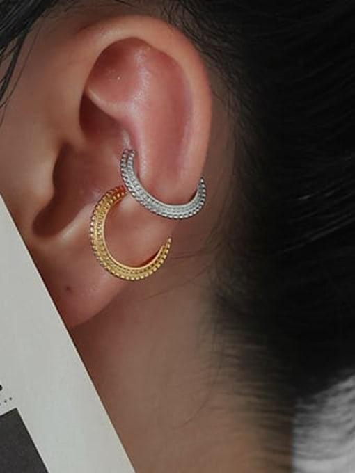 ACCA Brass Geometric Hip Hop Single  Ear clip Earring 1