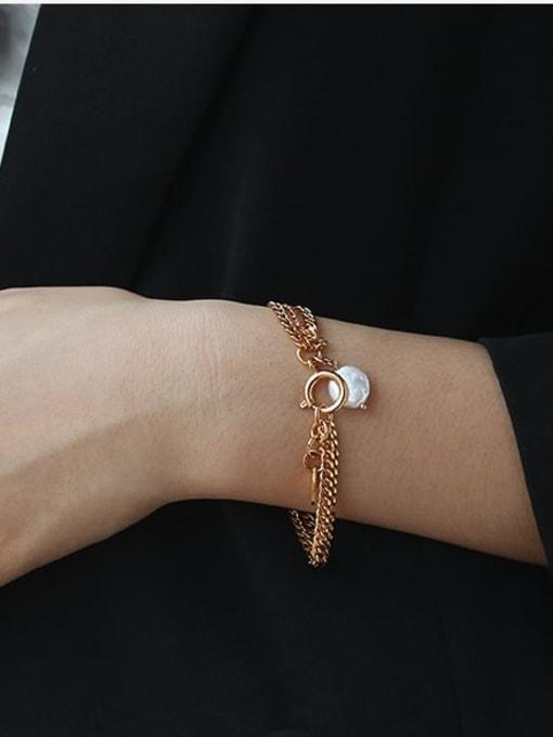 ACCA Brass Cats Eye Geometric Vintage Strand Bracelet 1