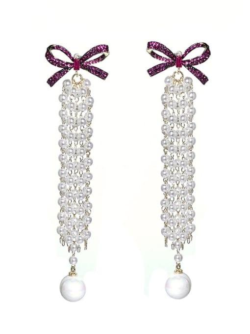 SUUTO Brass Imitation Pearl Bowknot Vintage Drop Earring 1