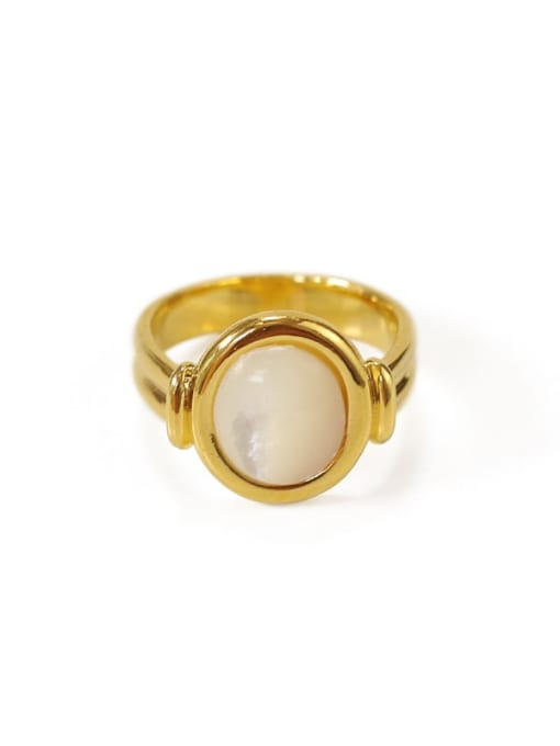 ACCA Brass Shell Geometric Vintage Band Ring 3