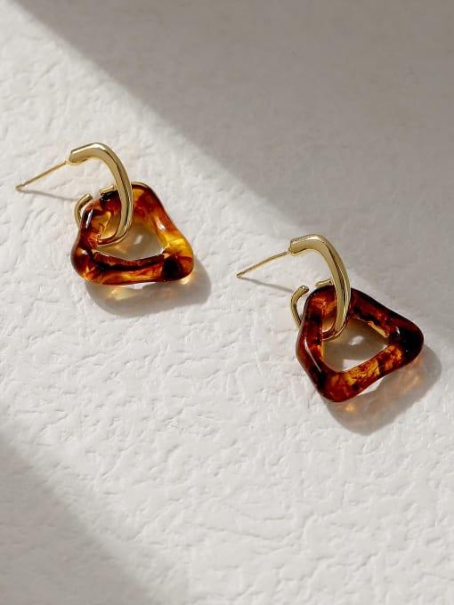 HYACINTH Brass Cubic Zirconia Triangle Vintage Huggie Trend Korean Fashion Earring 3