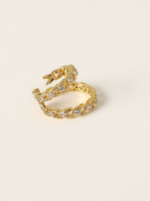 HYACINTH Brass Cubic Zirconia Geometric Minimalist Clip Trend Korean Fashion Earring 0