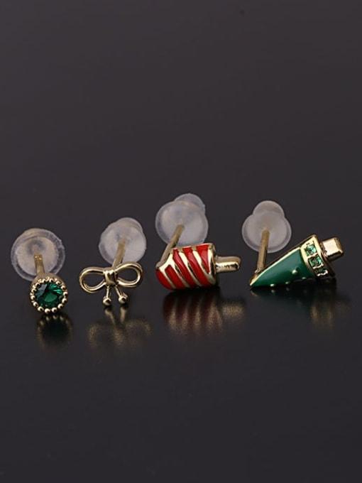 HISON Brass Cubic Zirconia Enamel Heart Cute Single Earring 1