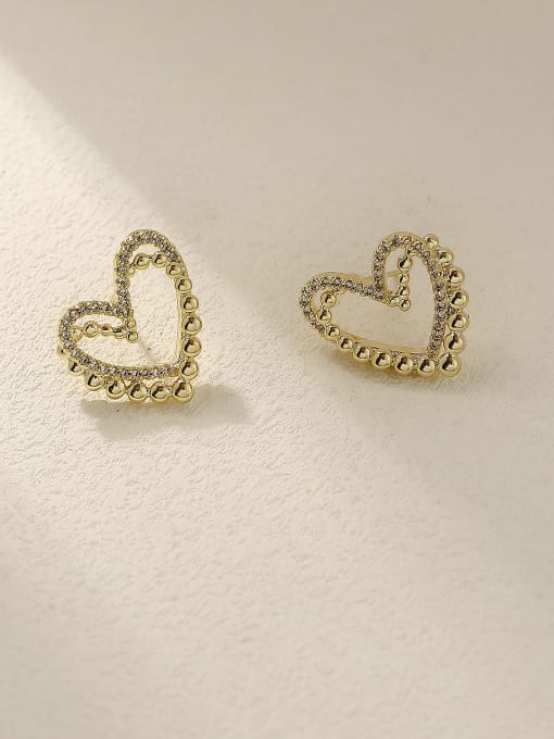 HYACINTH Brass Rhinestone Heart Vintage Stud Trend Korean Fashion Earring