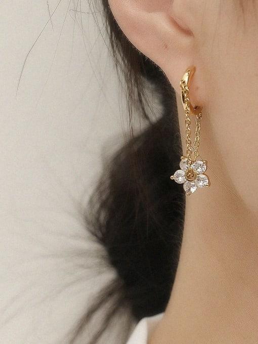HYACINTH Brass Cubic Zirconia Flower Vintage Huggie Trend Korean Fashion Earring 1