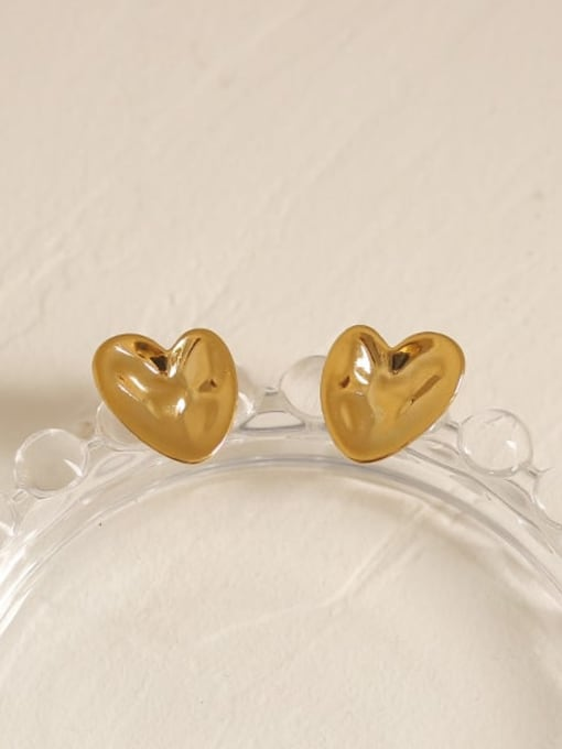 ACCA Brass Smooth Heart Vintage Stud Earring 4
