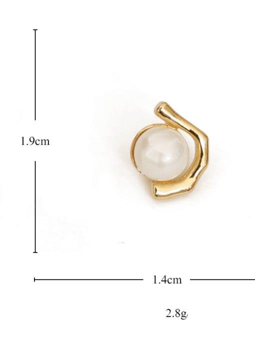 TINGS Brass Imitation Pearl Geometric Vintage Stud Earring 2