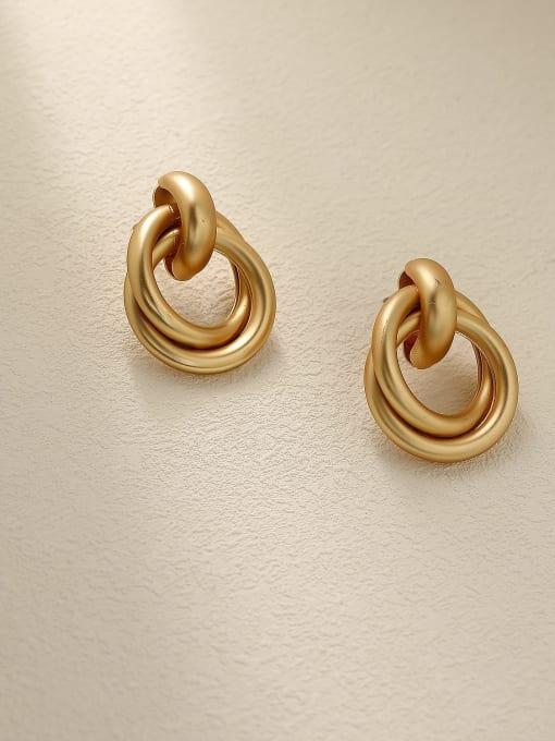 HYACINTH Brass Smooth Geometric Vintage Drop Earring 2