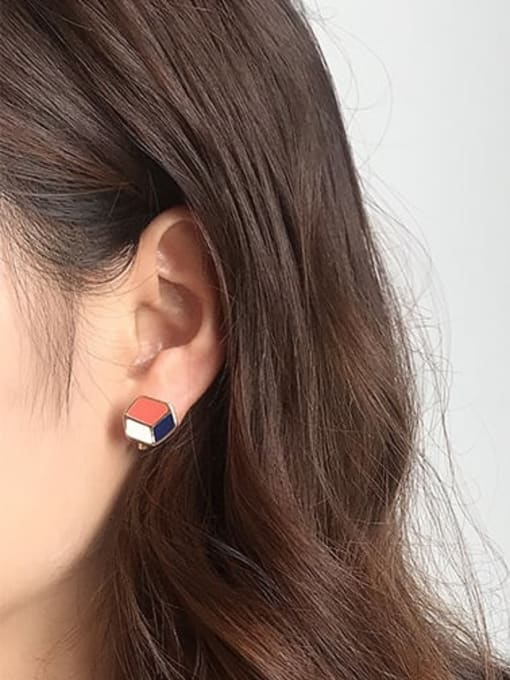 Five Color Alloy Enamel Geometric Cute Stud Earring 1