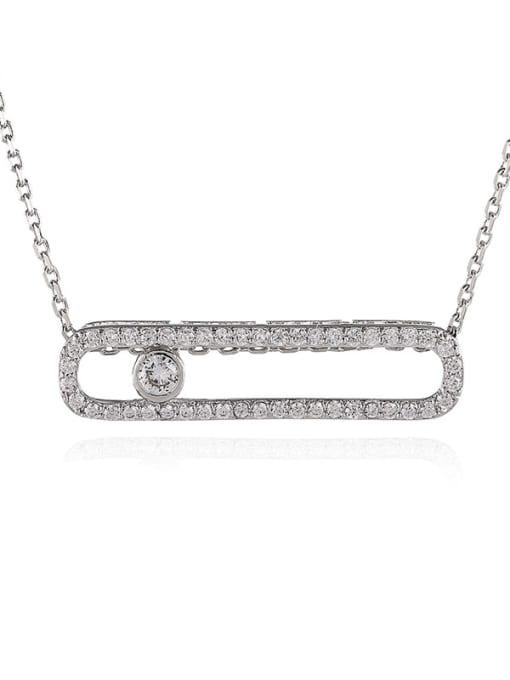 Platinum White Brass Cubic Zirconia Geometric Minimalist Necklace