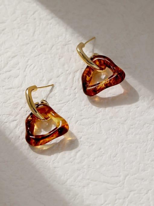 HYACINTH Brass Cubic Zirconia Triangle Vintage Huggie Trend Korean Fashion Earring 2
