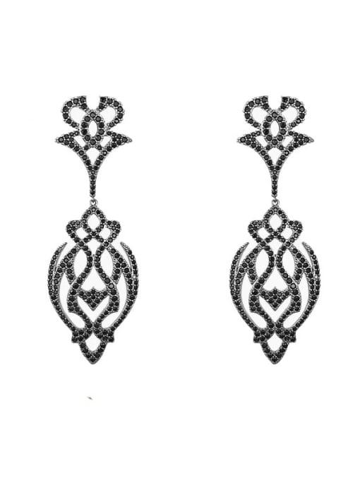 Black long cut flower Brass Cubic Zirconia Flower Hip Hop Drop Earring