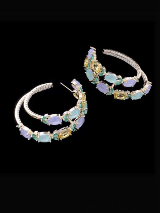 SUUTO Brass Cubic Zirconia Geometric Luxury Hoop Earring 1
