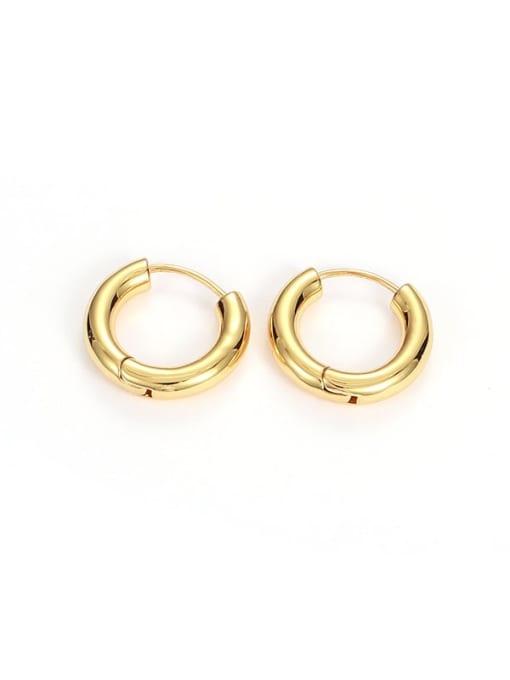 Golden Circle (Single) Brass Geometric Minimalist Huggie Earring