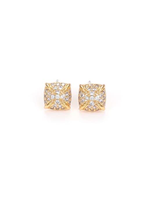 Five Color Brass Cubic Zirconia Geometric Minimalist Stud Earring 3