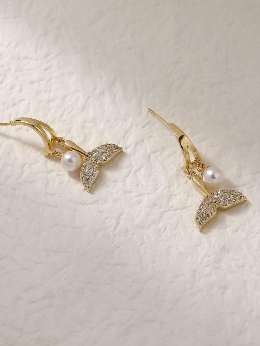 HYACINTH Brass Cubic Zirconia Fish Trend Drop Trend Korean Fashion Earring 2