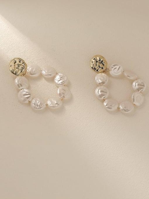 14k Gold Brass Freshwater Pearl Geometric Vintage Drop Trend Korean Fashion Earring