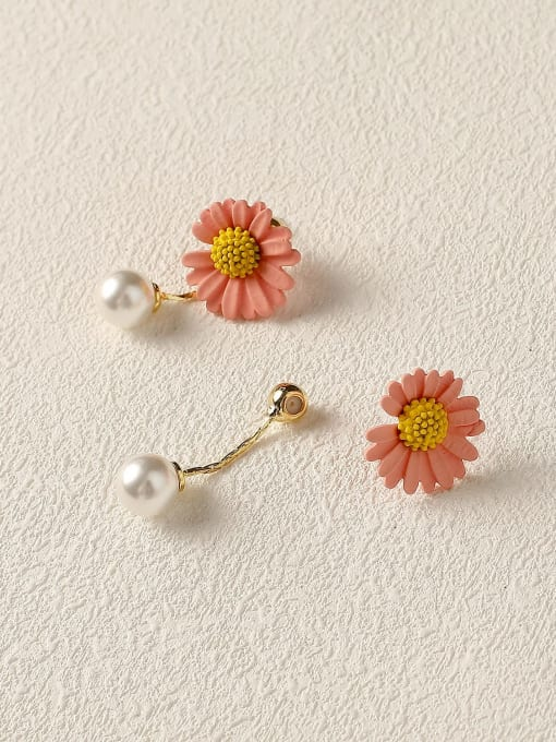 light pink Brass Imitation Pearl Enamel Flower Cute Drop Earring
