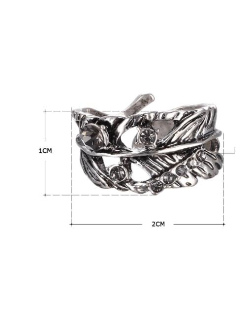 Desoto Alloy Rhinestone Irregular Vintage Band Ring 1