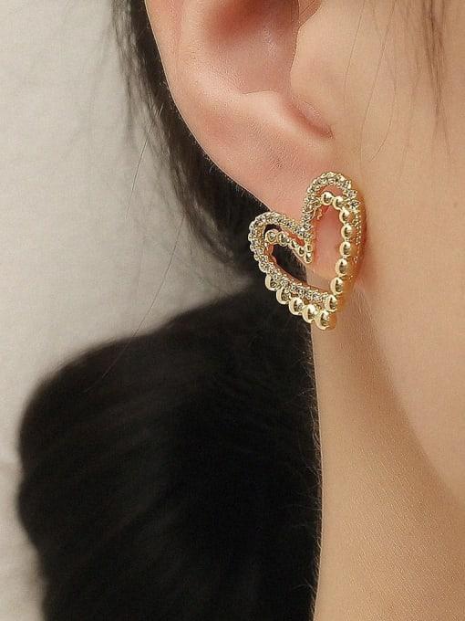 HYACINTH Brass Rhinestone Heart Vintage Stud Trend Korean Fashion Earring 1