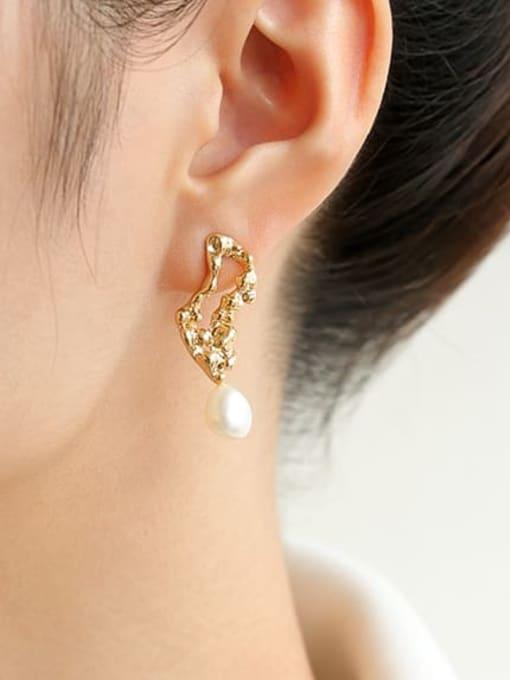 Five Color Brass Imitation Pearl Irregular Vintage Drop Earring 1