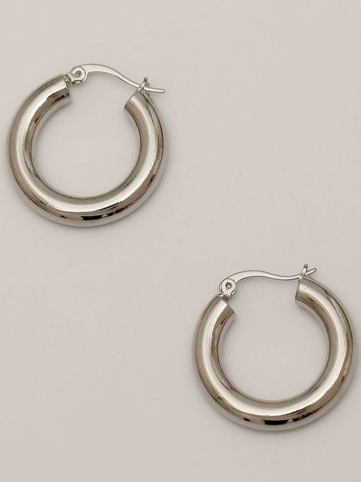 HYACINTH Brass  Smooth Geometric Vintage Hoop Earring 3