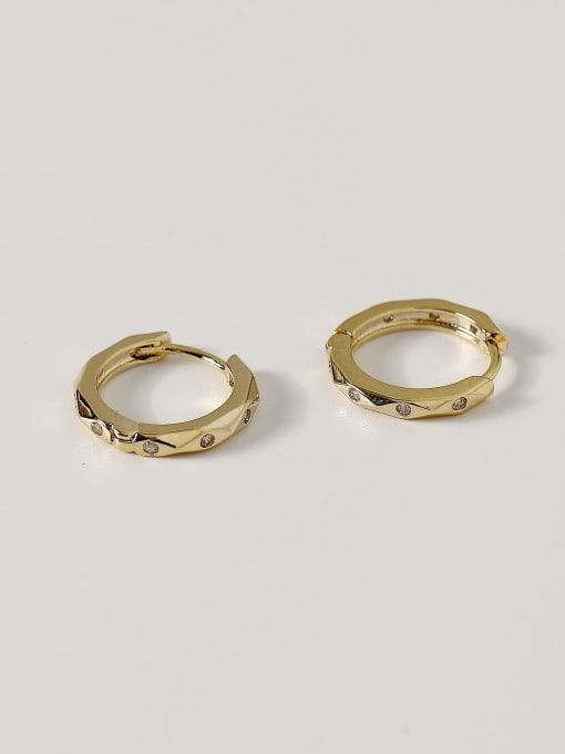 HYACINTH Brass Geometric Vintage Huggie Earring 1