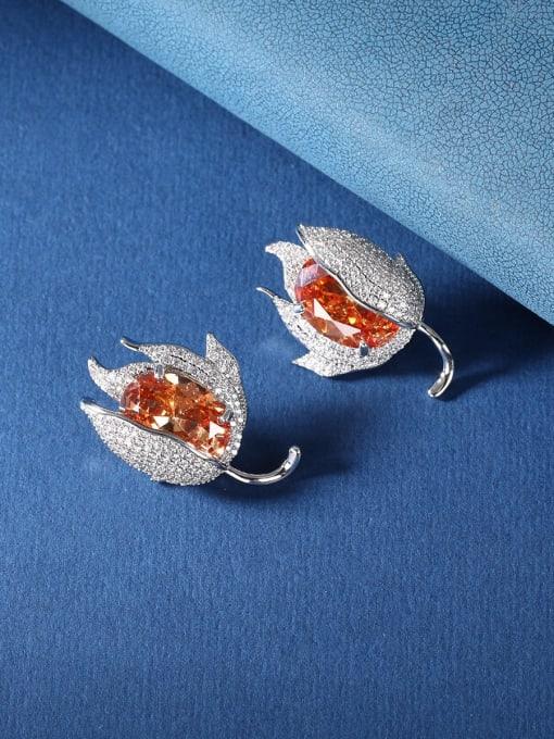 OUOU Brass Cubic Zirconia Flower Luxury Stud Earring 2