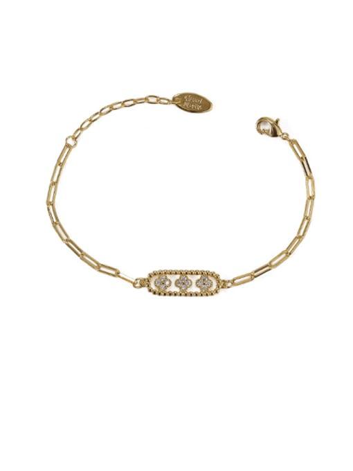 ACCA Brass Cubic Zirconia Geometric Vintage Link Bracelet 3