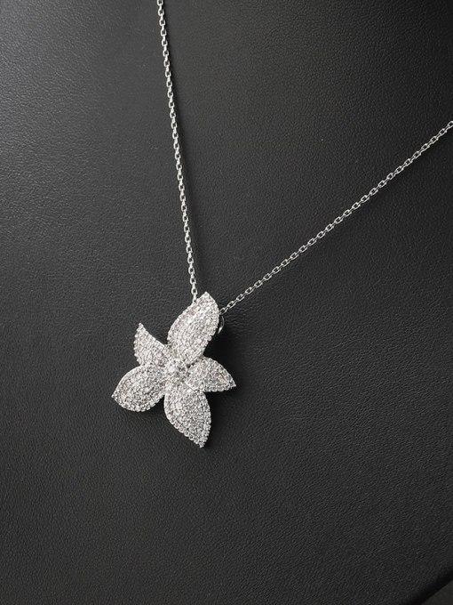 white Brass Cubic Zirconia Flower Minimalist Necklace