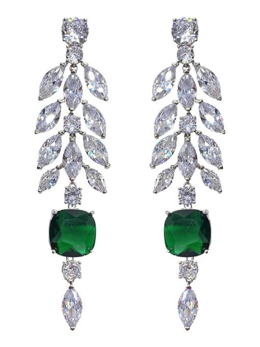 Green diamond Brass Cubic Zirconia Flower Statement Drop Earring