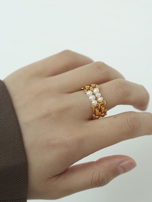 TINGS Brass Freshwater Pearl Geometric Hip Hop Stackable Ring 1