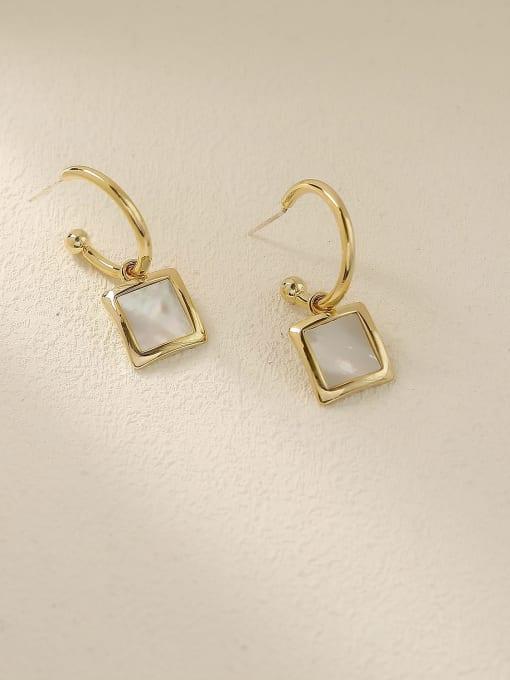 HYACINTH Brass Shell Geometric Vintage Hook Earring 3