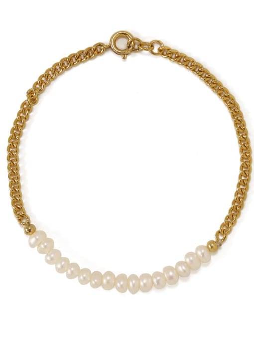 gold Brass Imitation Pearl Geometric Minimalist Link Bracelet