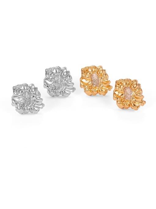 Five Color Brass Cubic Zirconia Irregular Hip Hop Stud Earring 0