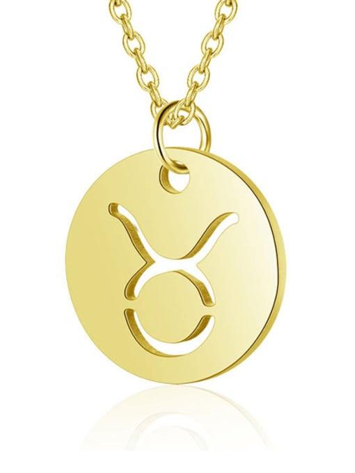 Taurus gold Titanium Steel Constellation Minimalist  Round Pendant Necklace