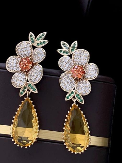 SUUTO Brass Cubic Zirconia Flower Luxury Drop Earring 3