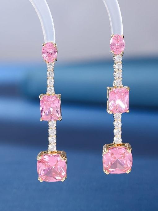 Pink zircon Brass Cubic Zirconia Geometric Luxury Drop Earring